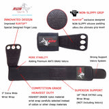 RunTop 3-Hole Leather Grips with Integrated Wrist Wrap