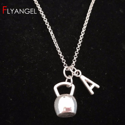 Women's Kettlebell Pendent Necklace with Initial