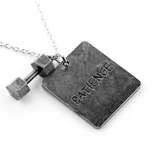 """I know what I will become"" Dumbbell Necklace"