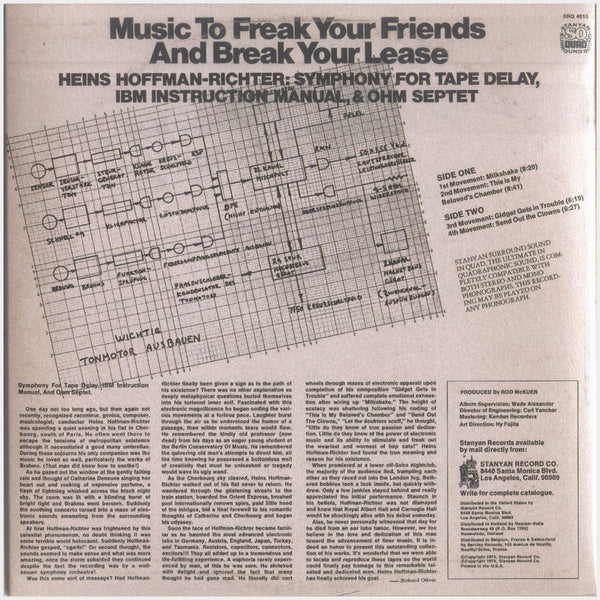 Heins Hoffman-Richter; Music to Freak your Friends and Break your Lease