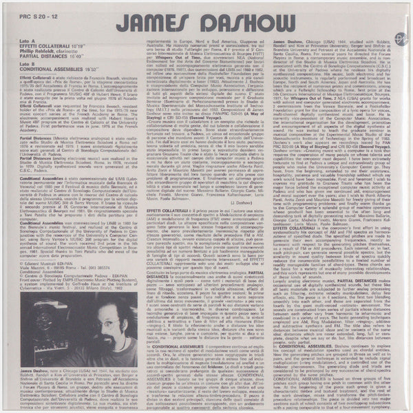 James Dashow; Computer Music, Musica Elettronica+