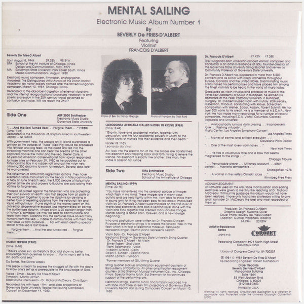 Beverly De Fries-D'Albert; Mental Sailing