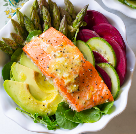 Roasted Salmon Detox Salad Recipe by A Spicy Perspective