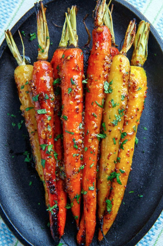Maple Dijon Roasted Carrots by Closet Cooking