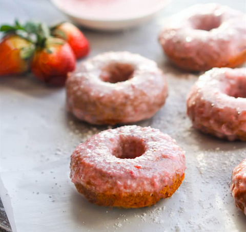 Strawberries & Cream Blender Baked Donuts Recipe by Cotter Crunch
