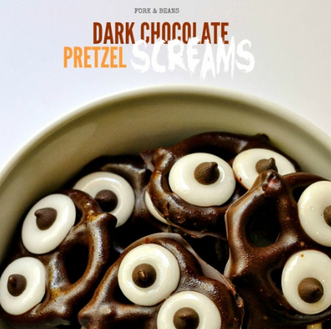 Dark Chocolate-Covered Pretzel Screams by Fork and Beans