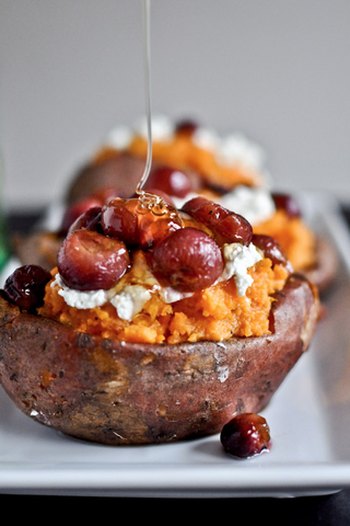 roasted grape goat cheese and honey stuffed sweet potatoes recipe by how sweet it is