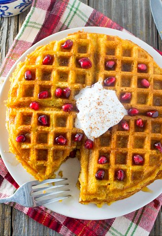 Dairy Free Whole Wheat Butternut Squash Waffles by Kara Lydon