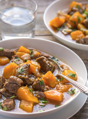 Beef and Butternut Squash Stew Recipe by Noshtastic