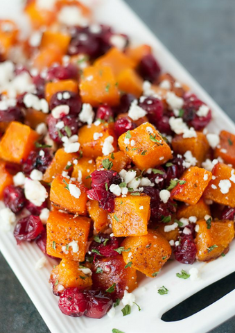 http://peasandcrayons.com/2014/11/honey-roasted-butternut-squash-cranberries-feta.html