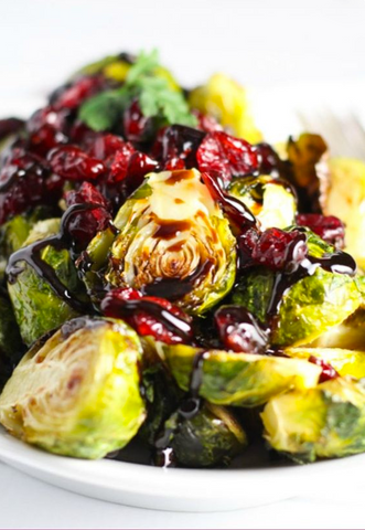 Roasted Brussel Sprouts with Cranberries Recipe by Platings & Pairings