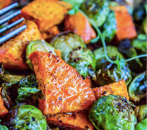 Roasted Sweet Potatoes & Brussel Sprouts Recipe by The Food Charlatan
