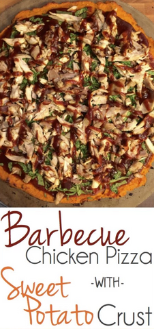 Healthy Barbeque Chicken Pizza with Sweet Potato Crust by The Soccer Mom Blog