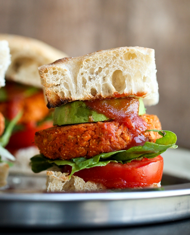 Smoky Barbecue Sweet Potato Chickpea Burgers Recipe by The Vegan 8