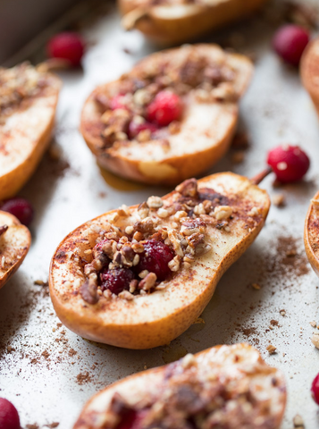 BAKED PEARS WITH HONEY, CRANBERRIES AND PECANS Recipe by This Gal Cooks