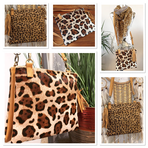 Cowhide Animal Print Crossbody Bag