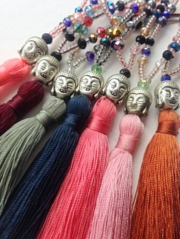 Cord & Bead Buddha Tassel Necklace