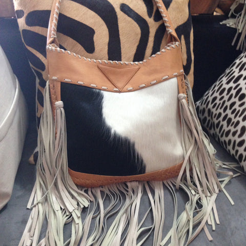 Lucy - Leather & Cowhide Fringe Bag