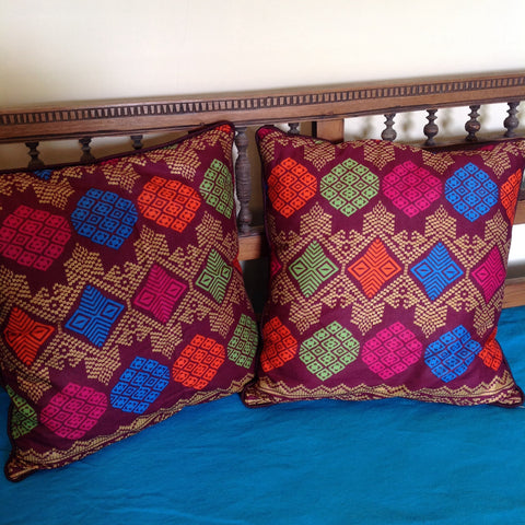 Ikat Multi Colour Print Cushion Cover