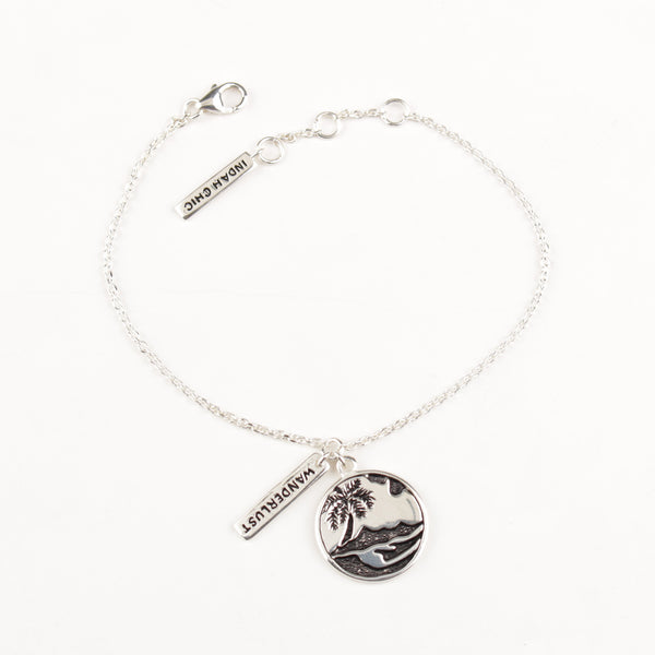 Palm Tree & Wanderlust Bracelet