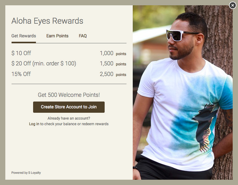 AlohaEyes.com Loyalty Program Discount Points