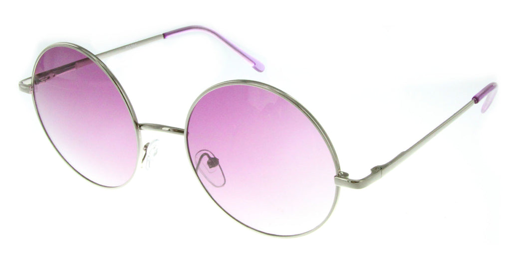 """Evelyn"" Women's Designer Retro Round Sunglasses with Mirror Lens - Aloha Eyes - 4"