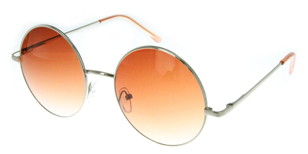 """Evelyn"" Women's Designer Retro Round Sunglasses with Mirror Lens - Aloha Eyes - 3"
