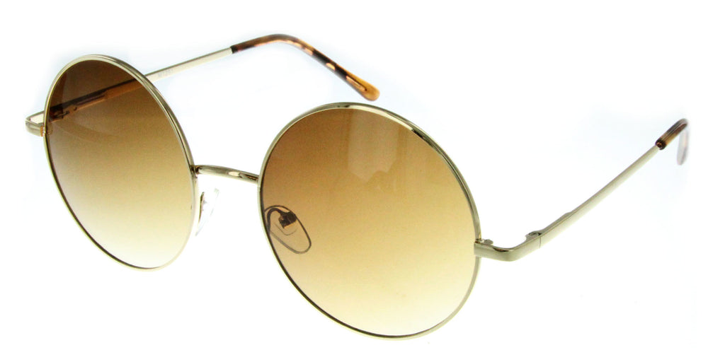 """Evelyn"" Women's Designer Retro Round Sunglasses with Mirror Lens - Aloha Eyes - 5"