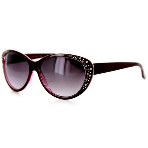 """Piazza"" Bifocal Sunglasses Color: Brown & Pink w/ Smoke Lens, Power: 1"