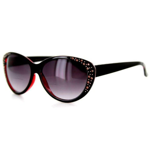 """Piazza"" Bifocal Sunglasses Color: Black & Red w/ Smoke Lens, Power: 1"