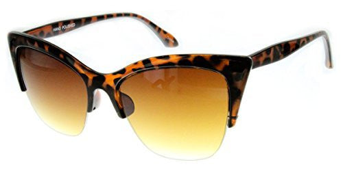 """Mai Thai"" Semi-Rimeless Cateye Women's Designer Inspired Animal Print Fashion Sunglasses - Aloha Eyes - 2"