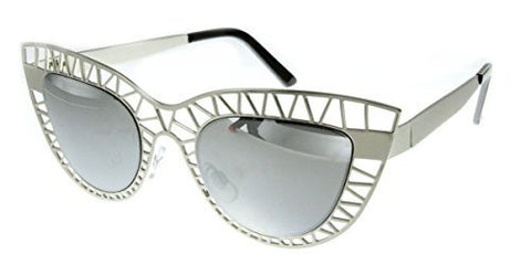 """Mouse Trap"" Women's Cateye Metal Mesh Cutout Fashion Designer Inspired Sunglasses - Aloha Eyes - 1"