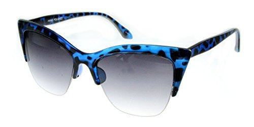 """Mai Thai"" Semi-Rimeless Cateye Women's Designer Inspired Animal Print Fashion Sunglasses - Aloha Eyes - 5"