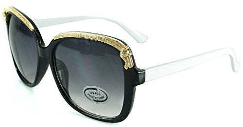 """Cheetah"" Oversized Fashion Sunglasses with Gold Brow Embellishment for Women - Aloha Eyes - 1"