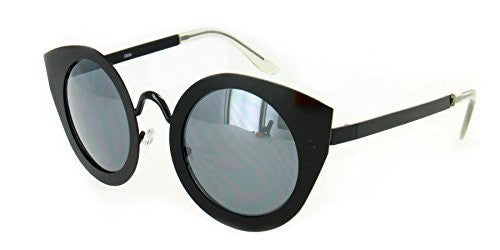 """Milo"" Women's Designer Retro Round Cateye Sunglasses with Mirror Lens - Aloha Eyes - 6"