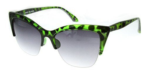 """Mai Thai"" Semi-Rimeless Cateye Women's Designer Inspired Animal Print Fashion Sunglasses - Aloha Eyes - 6"