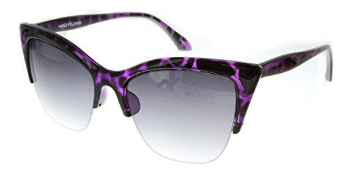 """Mai Thai"" Semi-Rimeless Cateye Women's Designer Inspired Animal Print Fashion Sunglasses - Aloha Eyes - 4"