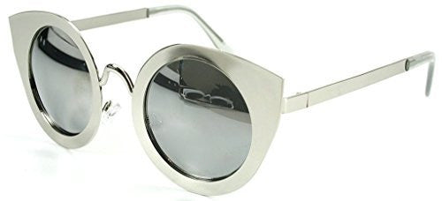 """Milo"" Women's Designer Retro Round Cateye Sunglasses with Mirror Lens - Aloha Eyes - 5"