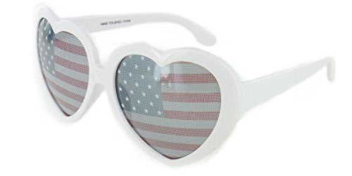 """Heart of America"" Women's Heart Shaped Flag Sunglasses - Aloha Eyes - 3"