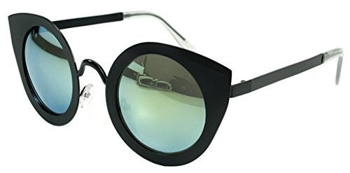 """Milo"" Women's Designer Retro Round Cateye Sunglasses with Mirror Lens - Aloha Eyes - 2"