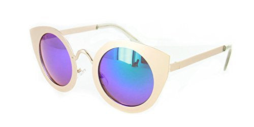 """Milo"" Women's Designer Retro Round Cateye Sunglasses with Mirror Lens - Aloha Eyes - 1"