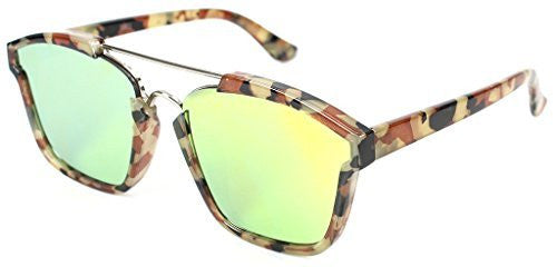 """Central Park"" Women's Designer Wayfarer Sunglasses with Flat Mirror Lens - Aloha Eyes - 1"