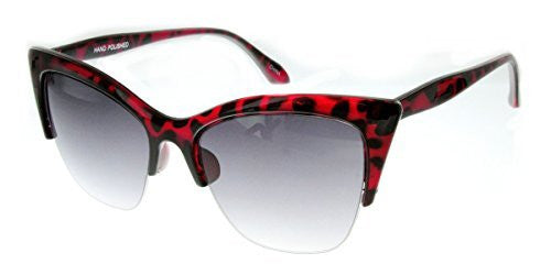 """Mai Thai"" Semi-Rimeless Cateye Women's Designer Inspired Animal Print Fashion Sunglasses - Aloha Eyes - 1"