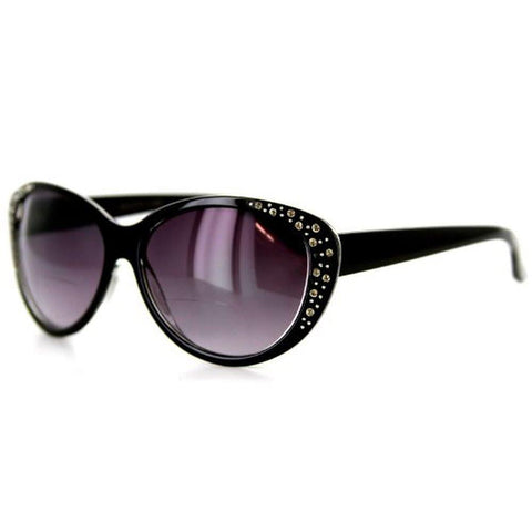 """Piazza"" Bifocal Sunglasses Color: Black & Clear w/ Smoke Lens, Power: 1"