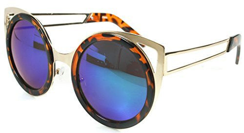 """Felix"" Women's Designer Retro Round Cateye Sunglasses with Mirror Lens - Aloha Eyes - 3"