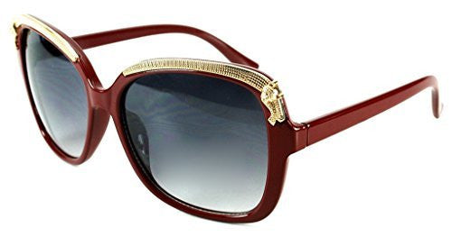"""Cheetah"" Oversized Fashion Sunglasses with Gold Brow Embellishment for Women - Aloha Eyes - 3"
