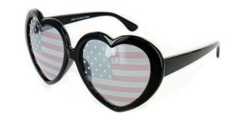 """Heart of America"" Women's Heart Shaped Flag Sunglasses - Aloha Eyes - 4"