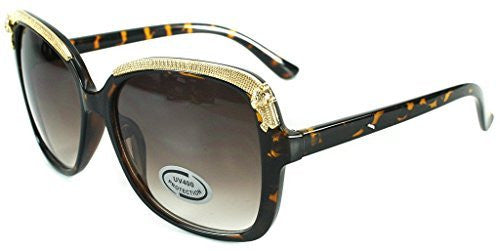"""Cheetah"" Oversized Fashion Sunglasses with Gold Brow Embellishment for Women - Aloha Eyes - 4"