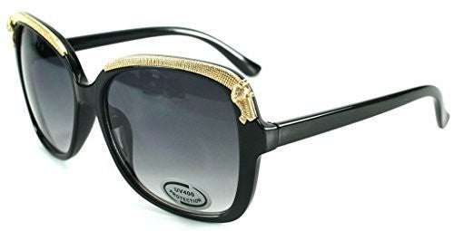 """Cheetah"" Oversized Fashion Sunglasses with Gold Brow Embellishment for Women - Aloha Eyes - 5"