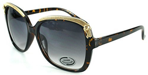 """Cheetah"" Oversized Fashion Sunglasses with Gold Brow Embellishment for Women - Aloha Eyes - 6"